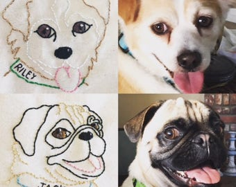 Hand Embroidered PET PORTRAITS from your photo!  Framed, 4x6""