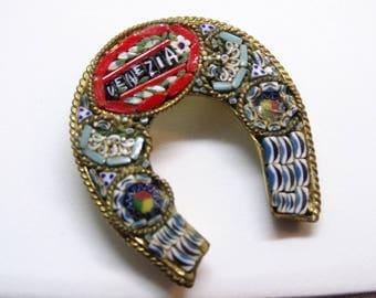 Mid Century Italian Mosaic Souvenir Horse Shoe Brooch Venezia