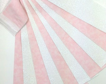 """Jelly Roll 20 Fabric Strips Baby Girl Pink White 2.5"""" x 43"""""""