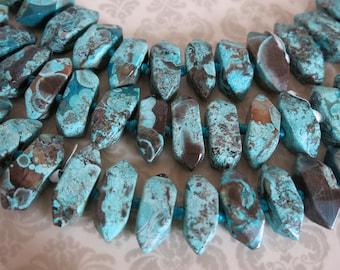 Snake Skin Jasper, Aqua Terra, Dynamic, 30mm Jumbo, Full and Half Strands, Side Drilled Faceted Jasper, Turquoise & Browns, Large 2mm Holes
