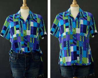 Vintage Abstract Print Shirt, Women's Button Up Blouse, 90s Oversized Shirt, Multi Color Shirt, Purple Wearable Art Shirt, Size Petite Large