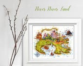 Never Never Land Map Nursery Print, Watercolor Peter Pan Map Poster, Disney Never Never Land Map, Wall Art Map, Decor Baby, Playroom Print