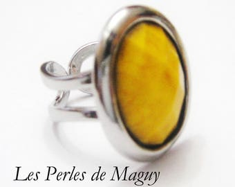 Sunflower yellow color resin Cabochon ring
