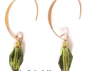 Demi-Creoles oval Swarovski Olivine color