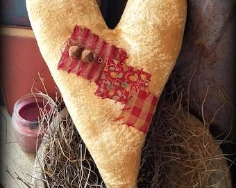 Primitive Folk Art Handcrafted Vintage Feedsack Heart-Valentine's Day-Grungy-Home Decor
