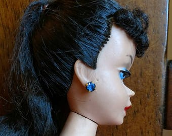 EXTREMELY RARE! Vintage Barbie 1962 Cleinmen & Sons Blue Sapphire Earrings Mint!!