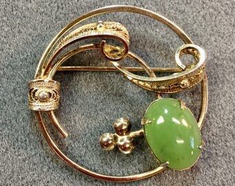 Signed Sorrento Gold Over Sterling Silver Brooch with Jade Stone.  Free shipping