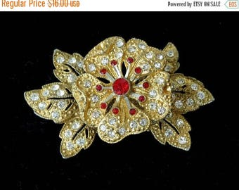 SUMMER SALE Trembler Ruby & Crystal Clear Rhinestone Brooch - Gilded Pot Metal