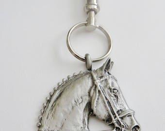 Hunter Horse Head Pewter Keychain