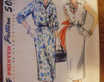 """ON SALE 35% OFF 1955 Misses' One Piece Dress Mid Century Simplicity Sewing Pattern 1114 Uncut Size 14 Bust 32"""""""