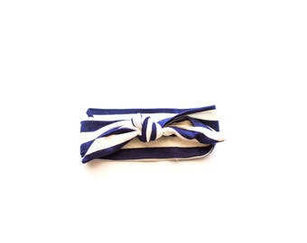 Navy Stripe Knotted Headband