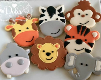 Jungle Safari Zoo Animal Elephant Monkey Tiger Lion Zebra Giraffe Hippo First Birthday Cookies