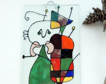Fused glass panel,hand painted fused wall panel, wall glass art panel,Miro on glass,fused wall art