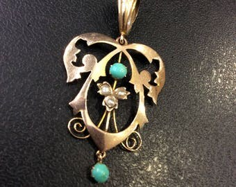 Gold ,turquoise and seed pearl lavaliere pendant