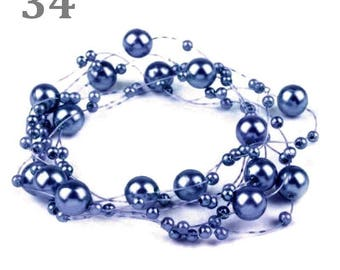 Wreath decorated with beads blue 130 cm