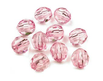 20 11 x 12 mm faceted clear pink Crystal beads