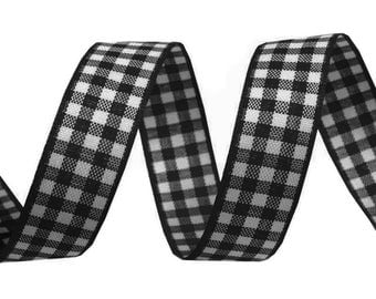 3 M 16 mm black and white checkered gingham Ribbon