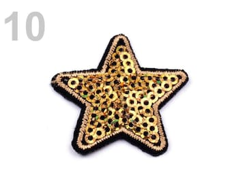 5 applique star sequins 35 mm gold fusible