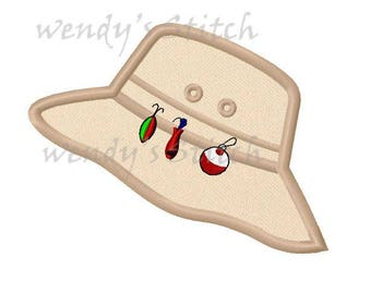 Fishing hat applique machine embroidery design instant download digital pattern