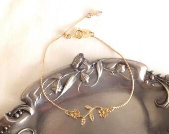 Gold Flower bracelet size adjustable slide ball clasp