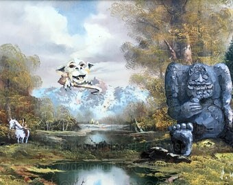 The NeverEnding Story Parody - Falkor, Rock Biter, Artax Parodies - Altered Thrift Art - Print, Poster, Canvas- Gift for NeverEnding Story