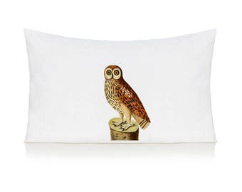 Owl on a log pillow case, cushion, bedding, pillow cover