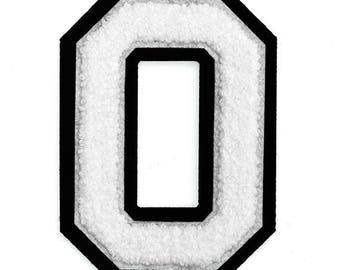 "Chenille Embroidery Varsity Numbers, Iron-On Patch by pc, 4-1/2"", White/Black, TR-11649"