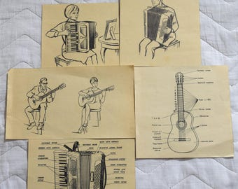 Set of 9 Vintage Book Pages Scrap Collage Paper Ephemera For your projects B&W Illustrations and music notes