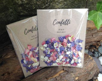 Set of 20 Personalised natural petal wedding confetti pouches biodegradable delphiniums