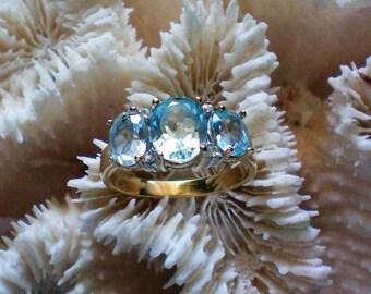 Three Stone Lab Created Aquamarine Ring - 5473