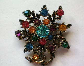 Vintage Multicolored Rhinestone Floral Pin - 5876