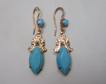 Vintage Gold Plated Turquoise Dangle Earrings