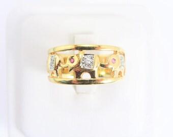 Vintage Seta Elephant Ring Size 10