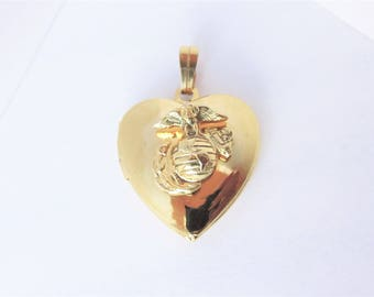 Vintage US Marine Heart Locket Pendant Gold Tone