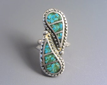 Vintage Southwestern Sterling Turquoise Inlay Ring Size 6