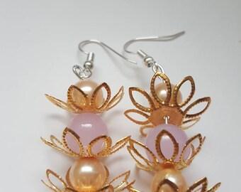 Lilac drop earrings, gold earrings, gold drop earrings, gold flower earrings, beaded earrings, jewelry, long dangly earrings, boho earrings,