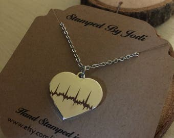 Heart stamped with heartbeat stainless steel medical professional nurse