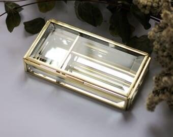 Rectangular  brass box, golden box, Ring box, Rectangular ring box, brass geometric box, casket with sections, jewelry box, jewelry display
