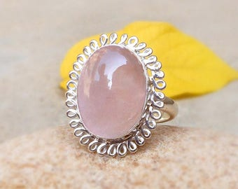 Rose quartz silver ring Pink rose quartz cabochon gemstone ring 925 sterling silver Love ring statement ring gift for her quartz jewelry
