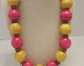 Yellow and Pink Wooden Necklace Pink and Yellow Wooden Necklace Yellow and Pink Necklace Pink and Yellow Necklace Fall Festivals Great Gift