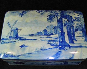 Vintage Patria Quality Biscuits Tin, Delft Tin, Amsterdam, Holland, Dutch Windmill Tin
