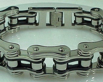 "Silver Black Biker Chain Bracelet Stainless Steel 3/4"" Wide 8"" Length"