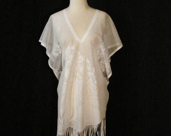 Poncho White Bohemian Chic Lace Cover Up Fringed Top Summer Clothes OS
