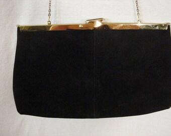 Vintage 40s Black Suede and Gold Trim Purse Evening Bag Shoulder Bad Womens Accessory
