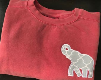 Comfort Colors Sweatshirt with Polka Dot or Chevron Elephant Appliqué