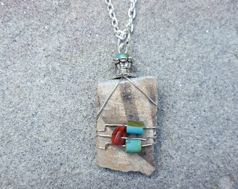 Genuine Wire Wrapped Ancient Anasazi Native American Pottery Shard Pendant With Turquoise & Australian Mookaite Jasper