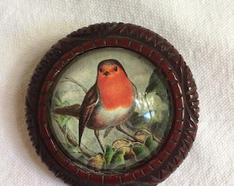 Vintage American Robin Brooch bird theme bubble pin handmade Hotcakes Design red breasted robin brooch