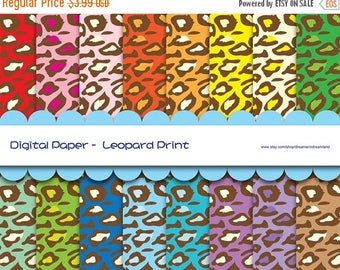 50% OFF Leopard Print Digital Paper - JPG PDF Instant Download Printable Digital File