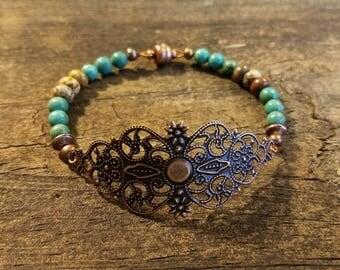 Boho Bracelet, Copper Bracelet, Copper Filigree Bracelet, Copper Beaded Bracelet