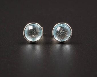 blue topaz earrings, blue topaz and sterling silver cabochon stud gemstone earrings blue silver post earrings blue topaz jewelry